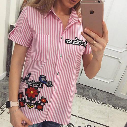 Женская рубашка из хлопка на лето с розой 1115