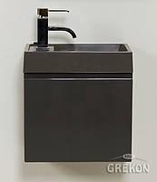 Шкафчик серый + серая раковина Grekon Cler-40/22