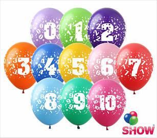 """Латексные воздушные шары с рисунком """"Цифры"""", диаметр 12 дюмов (30 см.), печать шелкография 5 сторон, 100 штук"""