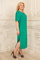 Платье летнее льняное большого размера бирюзовое