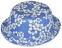 Шляпа детская котелок джинс в цветы