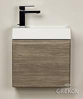 Шкафчик деревянный   + белая раковина Grekon Cler-40/22