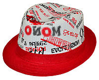 Шляпа детская челентанка комби 86 красный