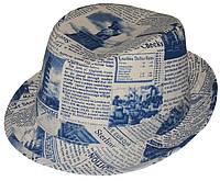 Шляпа детская челентанка комби бирюзовая газета