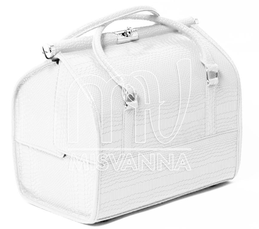 Саквояж, чемодан, сумка мастера, кейс для визажа, белый лак