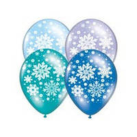 """Латексные воздушные шары BELBAL Бельгия кристалл круглые с рисунком """"Новый год снежинки"""" 14 дюймов/36 см, шелк"""