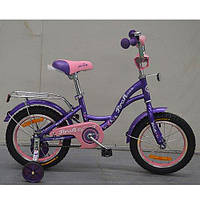 """Детский двухколесный велосипед Profi Butterfly Фиолетовый 14"""" (G1422) с приставными колесиками"""