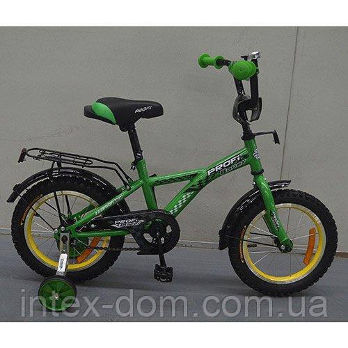 """Детский двухколесный велосипед Profi Racer Зеленый 14"""" (G1432) с приставными колесиками"""