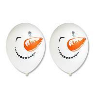 """Латексные воздушные шары BELBAL Бельгия пастель круглые с рисунком""""Снеговик"""", 14 дюймов/36 см, 50 шт в упаковк"""