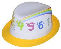 Шляпа детская челентанка фотопринт радуга+желтый