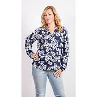 Темно-синяя блуза с хлопка принтованая цветами
