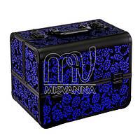 Кейс, чемодан  для мастера, металлический, темно-синие  розы