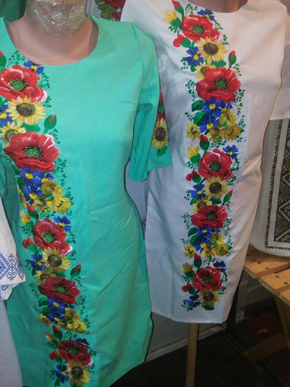 Оригинальное женское вышитое платье Подсолнухи