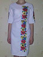Женское белое вышитое платье Подсолнухи , фото 1
