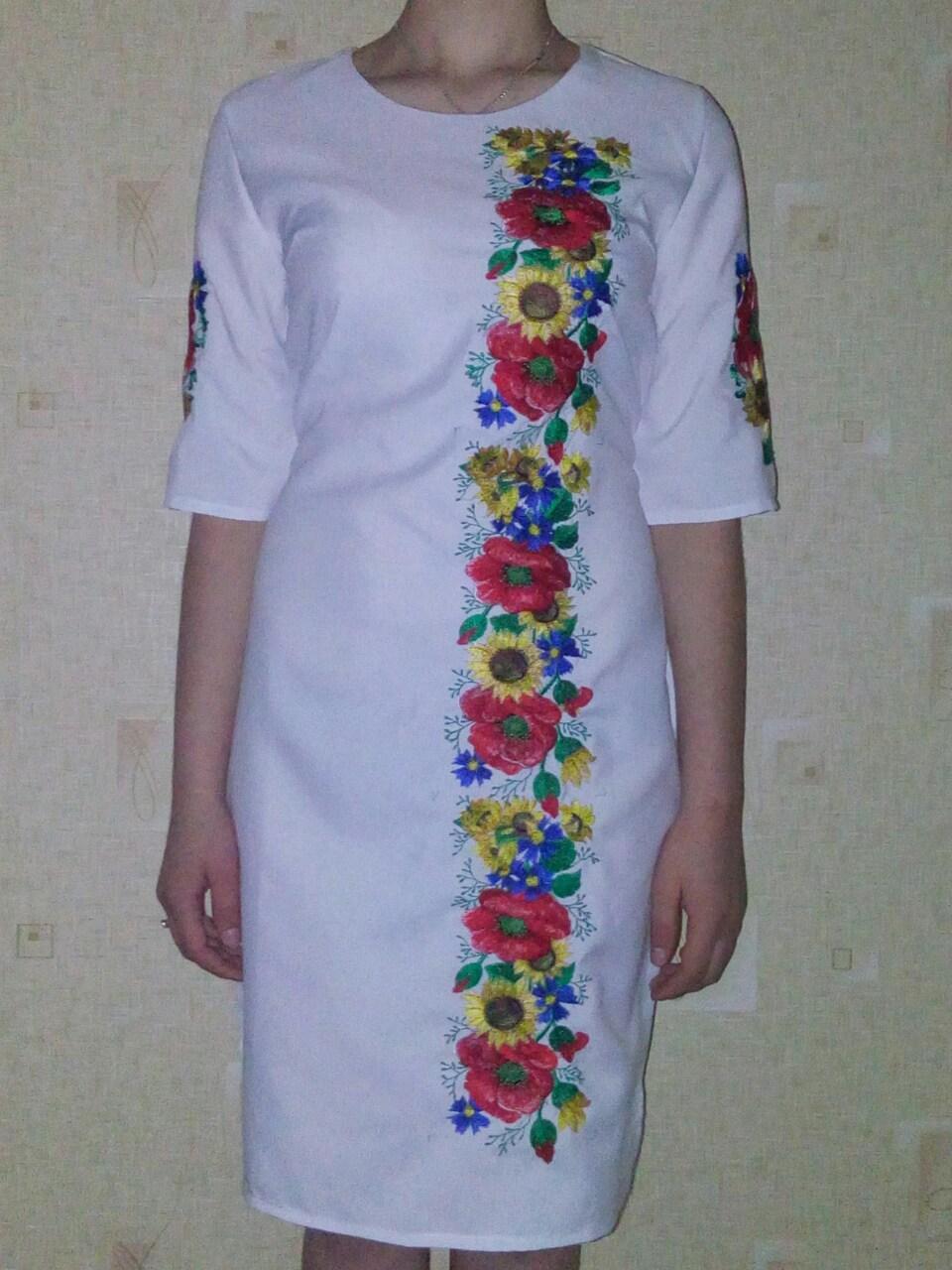 Женское белое вышитое платье Подсолнухи