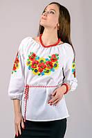 Сорочка вышиванка женская большого размера белая хлопок рукав 3/4 (Украина)