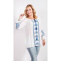 Блуза белая вышитая голубой нитью с хлопка