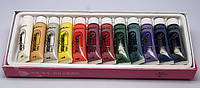 Краски акриловые 12 цветов 15 мл. (на силиконовой ) основе для китайской росписи ногтей