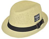 Шляпа детская челентанка шеврон солома FASHION