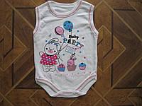 Детские летние боди Зайка 62)68)80 см Турция хлопок