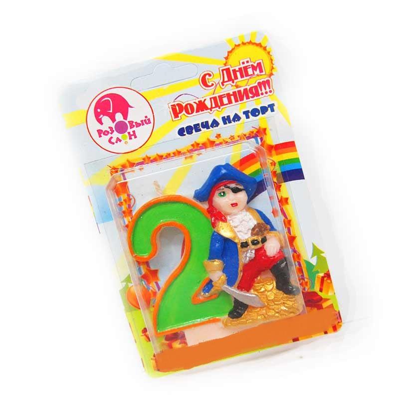 """Свеча - цифра в торт Пират """"2"""""""
