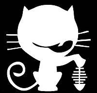 Виниловая наклейка- Кот съел рыбку