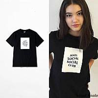 Футболка черная принт   Anti Social social club logo