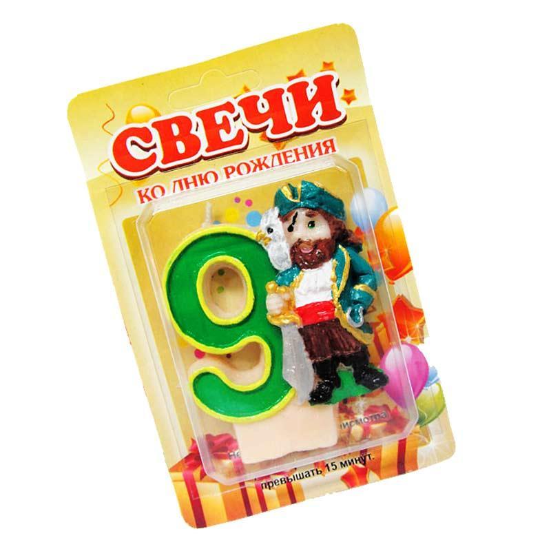 """Свеча - цифра в торт Пират """"9"""""""