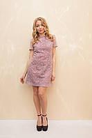 Женское платье коктейльное из кружева лилового цвета