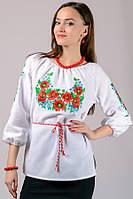 Рубашка с вышивкой женская белая хлопок рукав 3/4 (Украина)