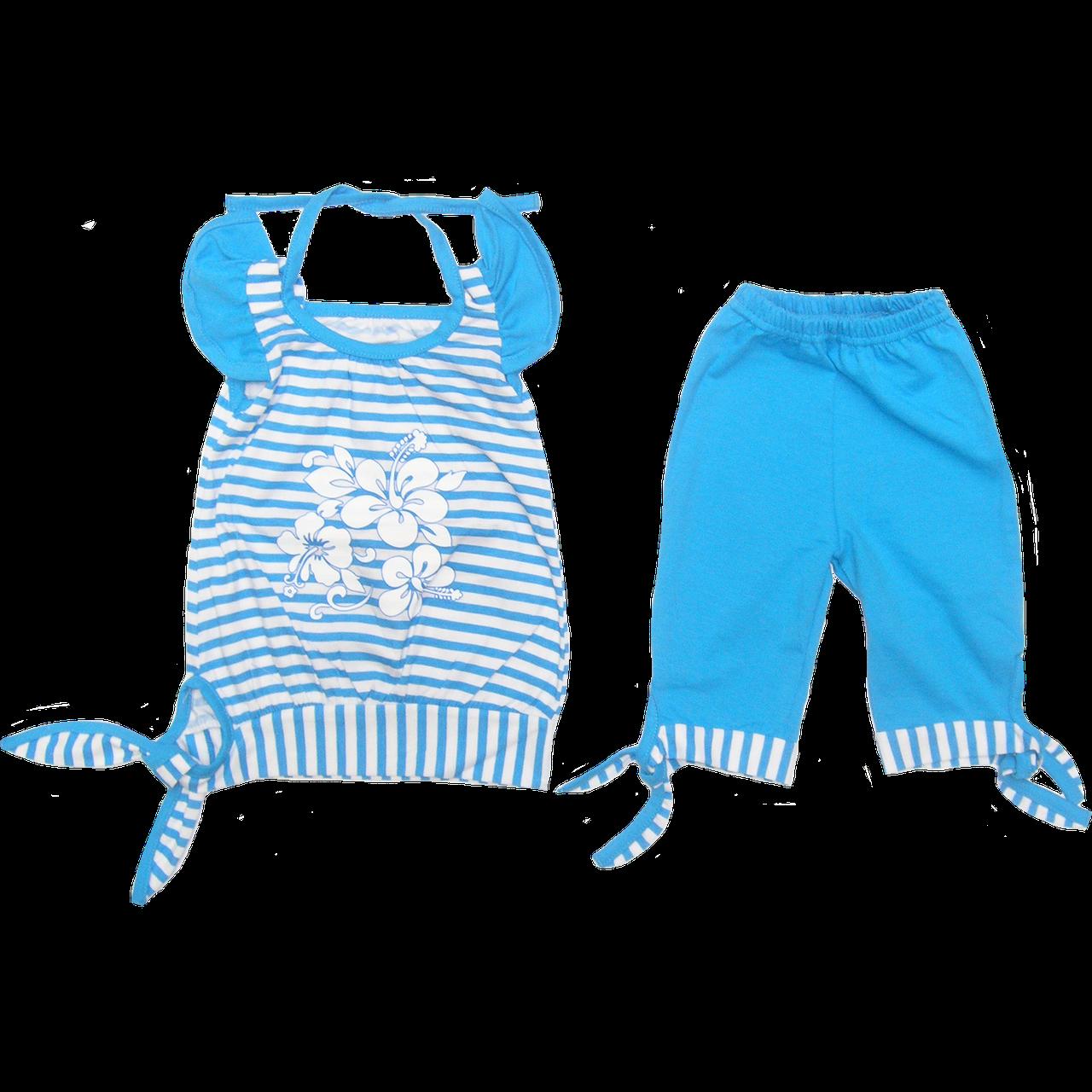 Детский летний костюмчик комплект для девочки: туника с коротким рукавом и капри; кулир лето ТМ Виктория