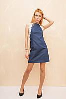 Женское джинсовое платье с кружевами
