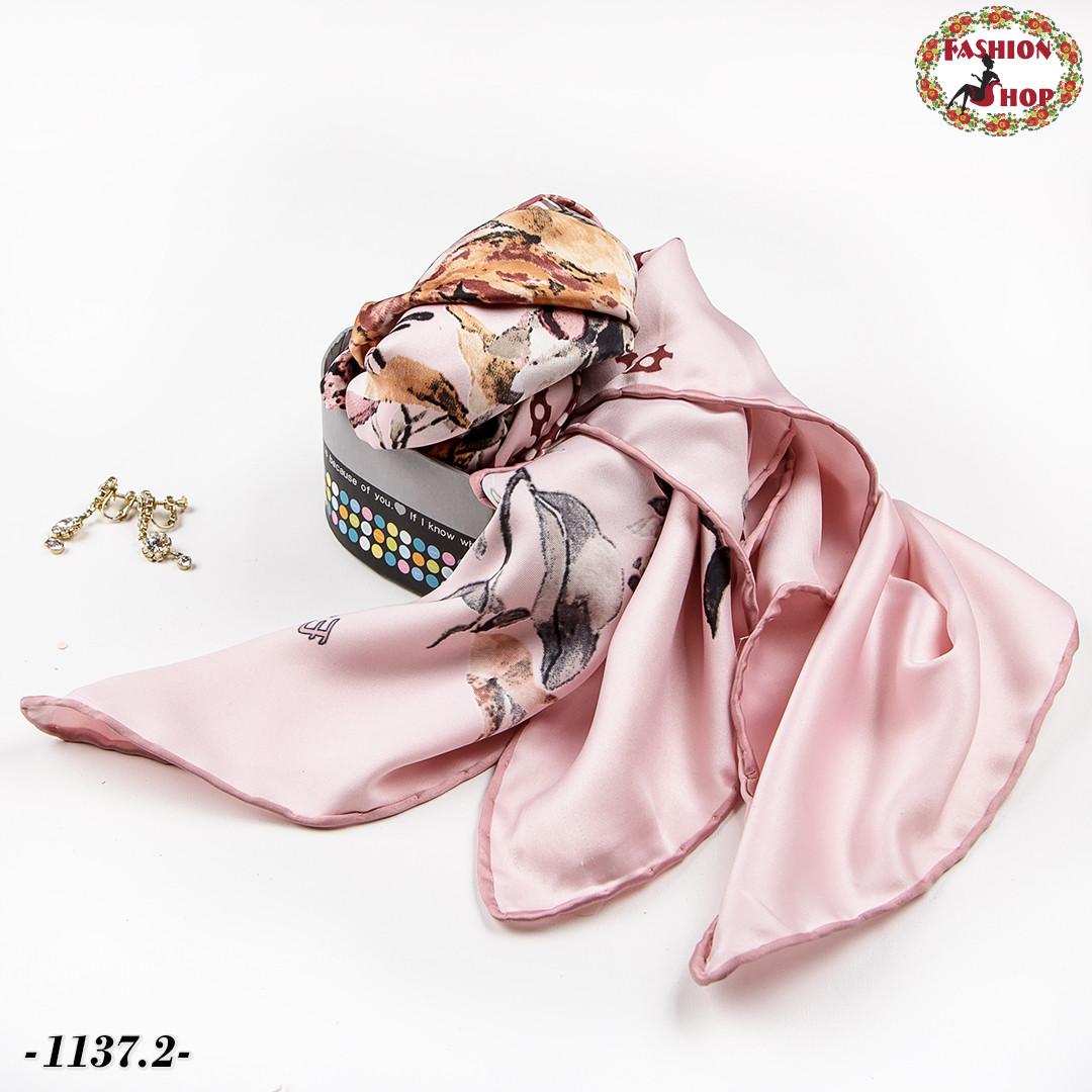Платок розовый  атлас-масло Динара