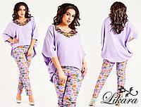 Женский весенний костюм, блуза из льна с нашивкой цветочной и брюки в цветочный принт.