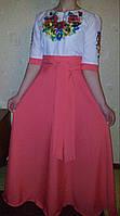 Женское вышитое длинное платье (розовое)