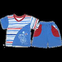 Детский летний костюмчик: футболка и шортики, тонкий хлопок; ТМ Виктория, р. 86, 92, 98, 104, 110, фото 1