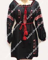 Вышитое платье черного цвета с длинным рукавом 50314