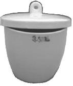 Тигель средний с крышкой фарфоровый Boro С-18-1 (V-15 мл, d-34 мм, h-29 мм)