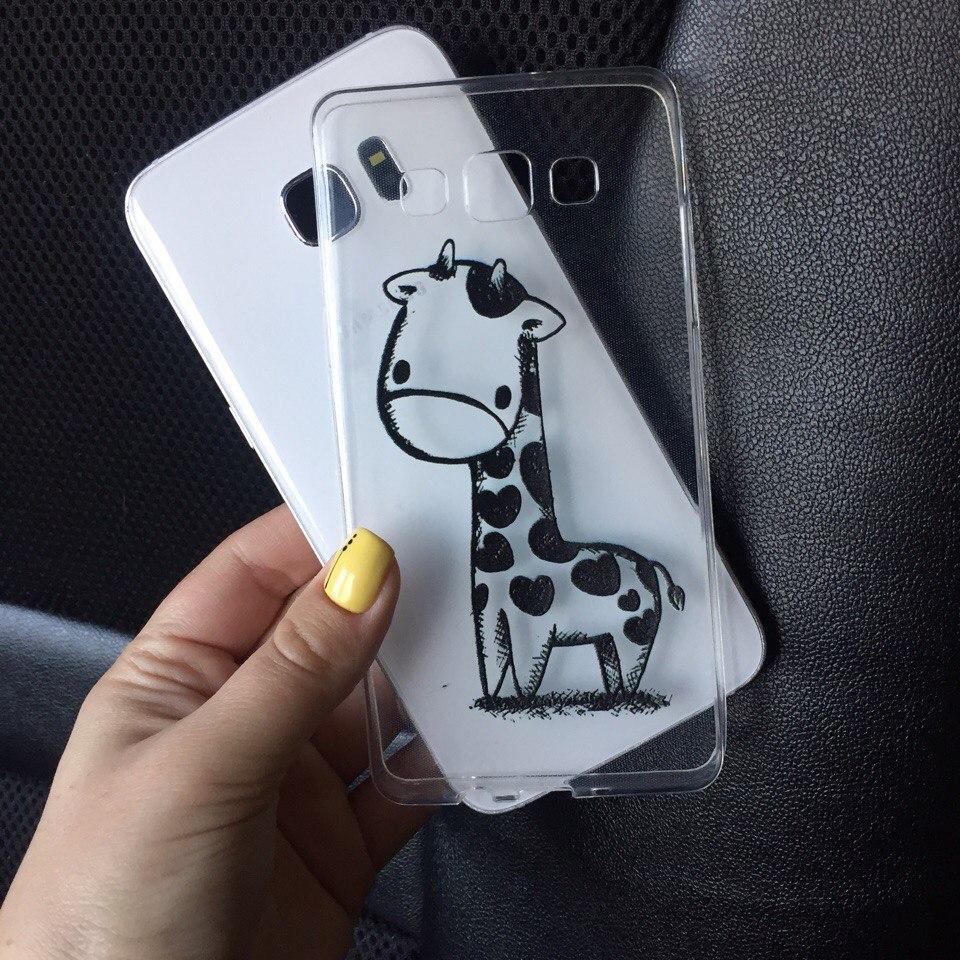 Чехол силикон для Samsung Galaxy J1 2015 (J100h) с жирафом