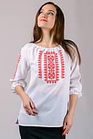 Блузка вышиванка женская белая с красным хлопок рукав 3/4 (Украина)