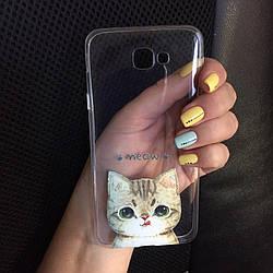 Силикон чехол для Samsung Galaxy J1 2015 (J100h) с котиком