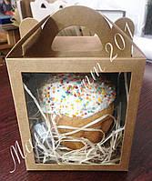 Коробка для кулича, пряничного дома крафт 160х160х190 мм, фото 1