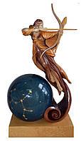 Эксклюзивная деревянная статуэтка Стрелец с мраморным шаром