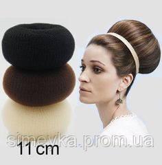 Бублик Hair Bun большой (XL) для гульки, пучка. Диаметр 11 см. Кремовый. Причёска для бальных танцев.