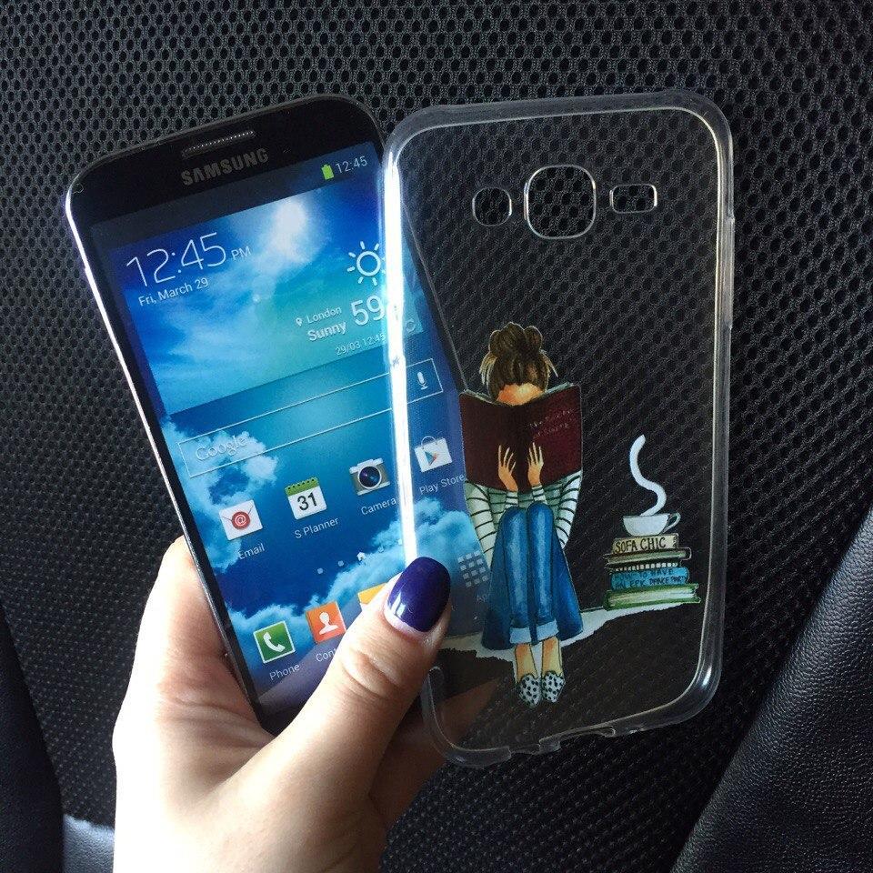 Силикон чехол для Samsung Galaxy J5 2015 (J500h) с девушкой