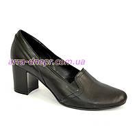 Кожаные женские туфли на невысоком каблуке, фото 1