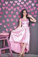 Котельное платье с асимметричной юбкой из стрейч-атласа