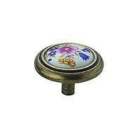 Ручка мебельная кнопка с фарфором 1-516