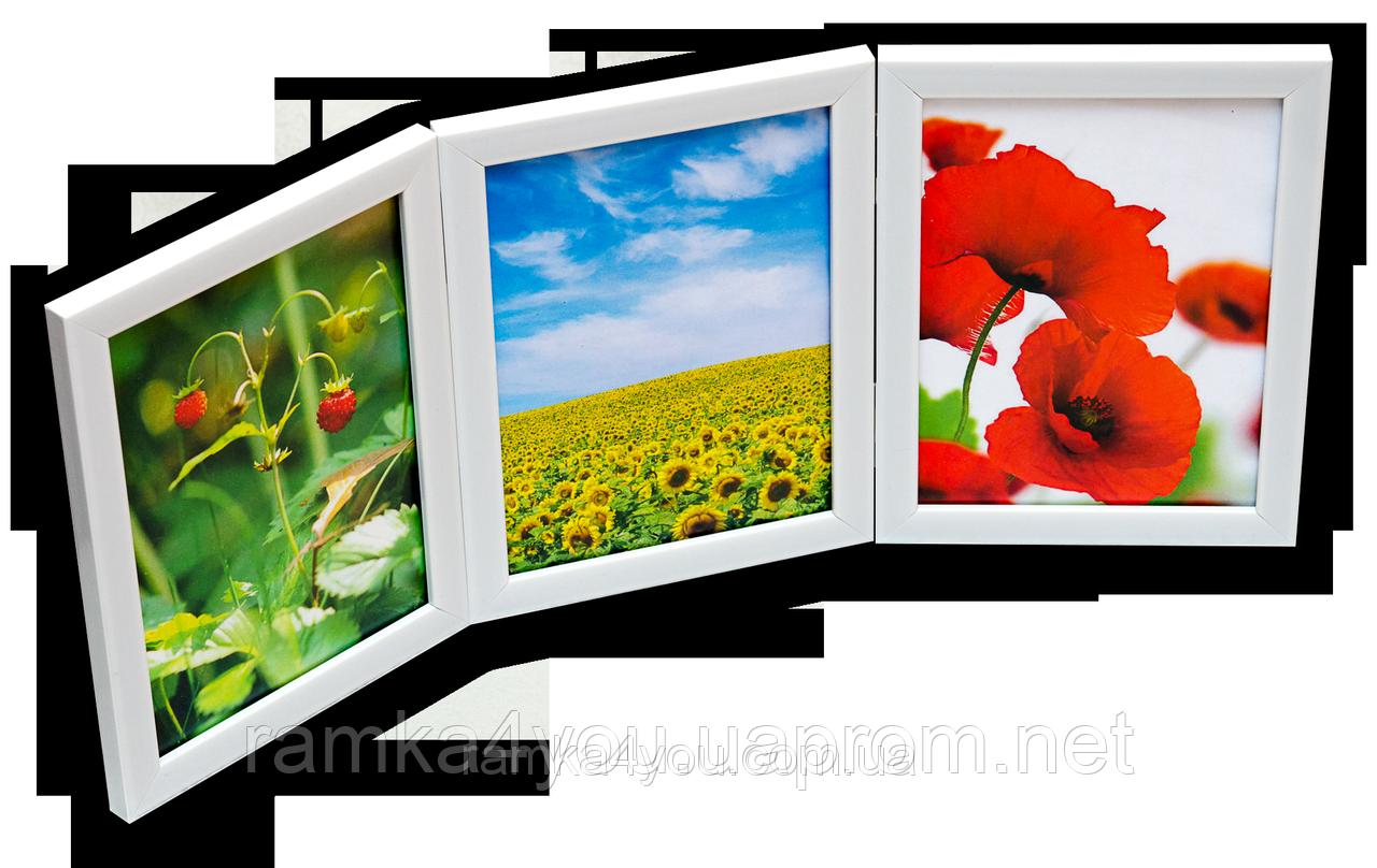 Мультирамка-коллаж настольная на 3 фотографии 10х15 белая