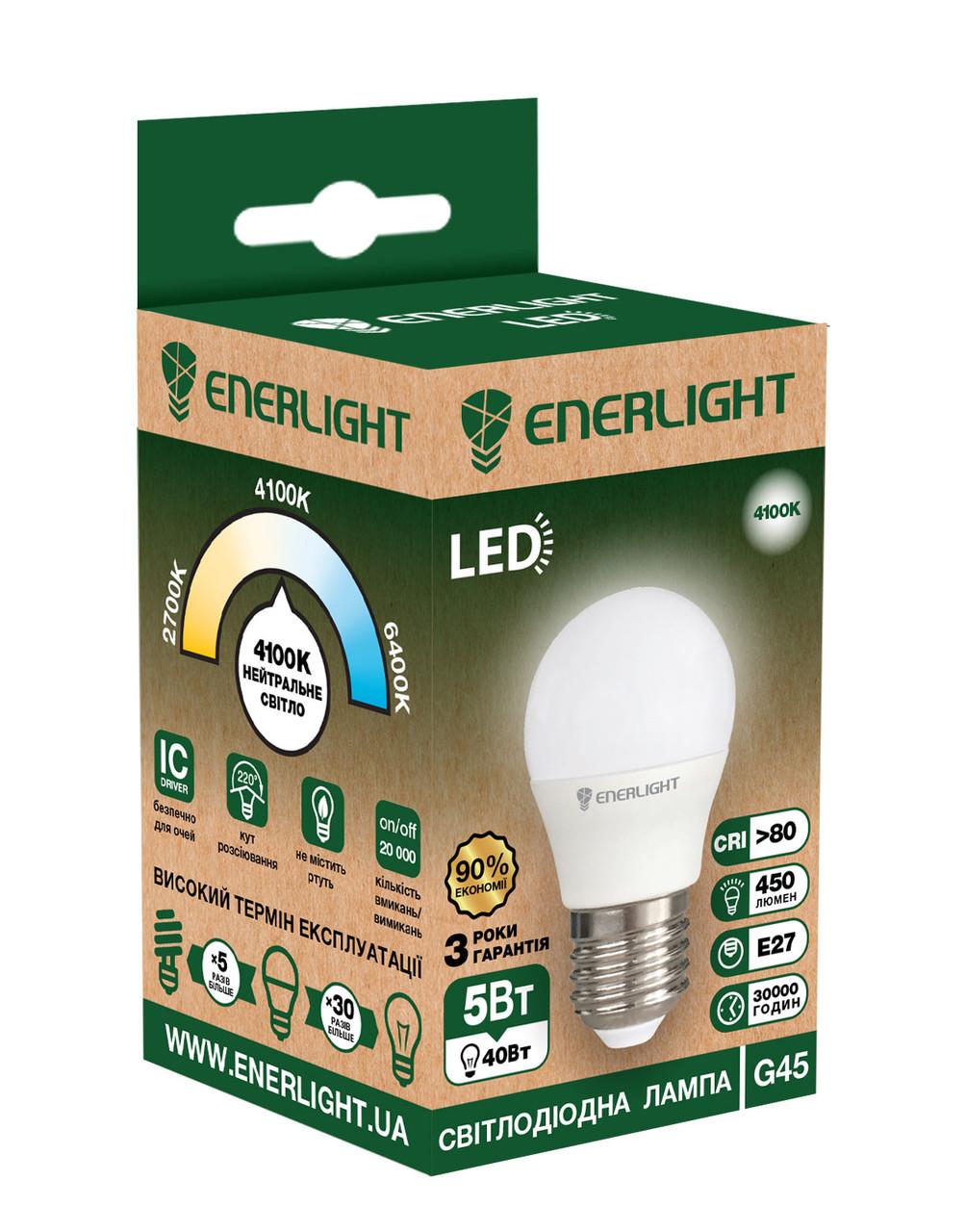 LED лампа Enerlight G45 5W 4100K E27